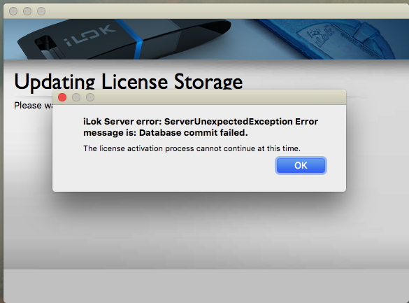 iLok Server error: SeverUnexpectedException Error