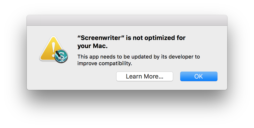 Screenwriter_is_not_optimized_for_your_Mac.png